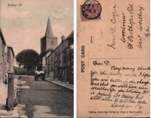 Postcard of upper High Street with pump 1921. SB 024.
