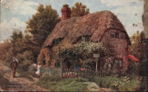 Postcard of Little Jane's Cottage watercolour by A R Quinton 1946. SB 028.