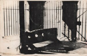 "Postcard "" The Stocks, Brading"" postmarked 1941. SB 031."