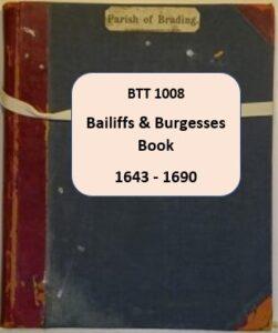 BTT1008 Bailiffs and Burgesses Book 1643 – 1690